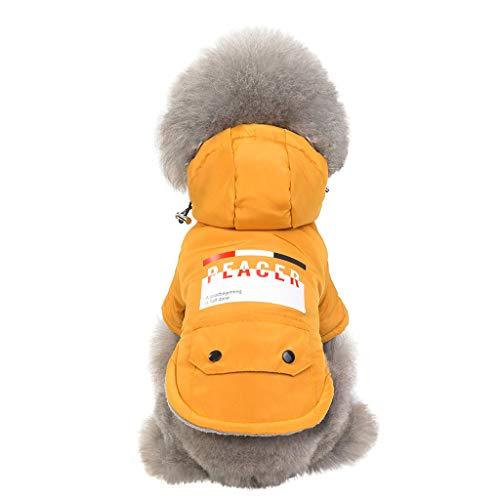Daunenjacke für Katzen Hunde, Haustier Jacke mit Kapuze mit Tasche Herbst Winter Warm Sweatshirt Haustier Kleidung (M, Gelb)