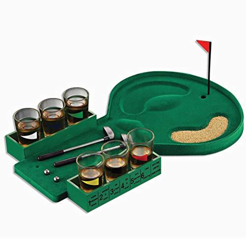 Borstu Golf Drinkspel, mini-olf, tafelspel, drinking, golffeestspel met kleine vlag, zandzak, ballen, putter voor bar-, café- of familiefeesten