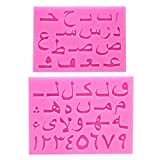 YUSHU Juego de 2 moldes de silicona con letras árabes y números de alfabeto, molde de resina para fondant, kit de fundición, herramientas de arte para hacer llaveros de joyería