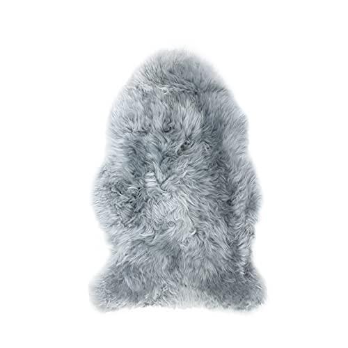 JAP Peau de Mouton Naturelle - Tapis 100% Laine islandaise véritable - Fourrure Naturelle écologique - 95x65 - Gris