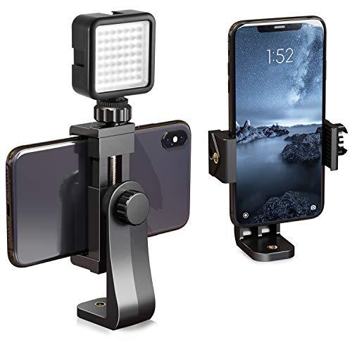 ipow Supporto smartphone cavalletto Attacco smartphone treppiede Adattatore treppiede smartphone Universale Rotazione a 360 gradi per treppiedi selfie bastone da 2,3 a 4  (Con HOT shoe Mount)
