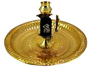 Finaldeals Brass Lota Shivling Shiv Lingam with Brass puja Plate Black Shiv ling in Brass Stand with puja Plate