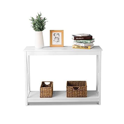 PAKUES-QO Wooden Console Table Side End Table Shelf Storage For Living Room Bedroom Hallway Home - White