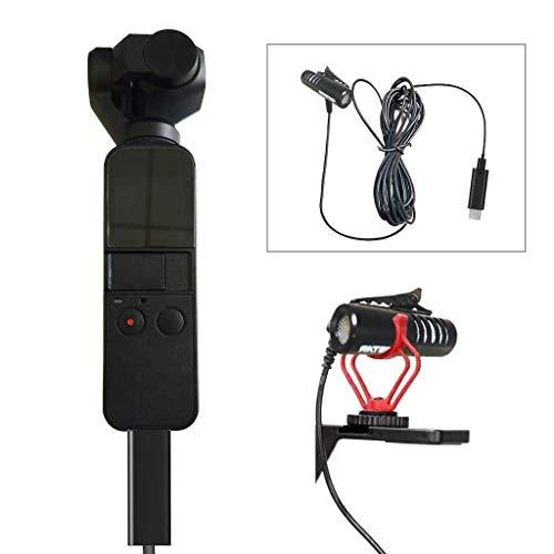 TUTUO Micrófono Tipo C con Adaptador para dji Osmo Pocket, 2 en 1 Micrófono de Audio USB C Receptor de Micrófono Video Vlog Micrófono Externo para Osmo Pocket para Huawei/Samsung/Xiaomi/OPPO