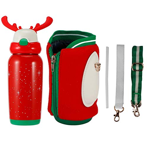 Antlers Botella de agua aislada con interruptor de rebote de un botón, termo portátil reutilizable de boca ancha de acero inoxidable de 16,9 oz (500 ml) para viajes al aire libre en Navidad(rojo)
