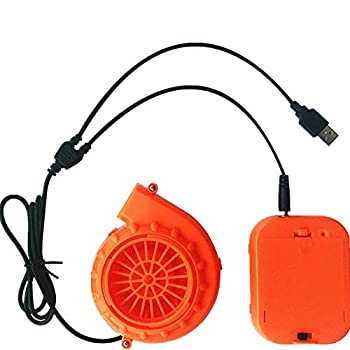Mini Blower Fan for Dinosaur Costume or Doll Mascot Head or Other Inflatable Game Clothing Suits Orange