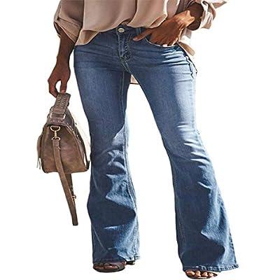 HOSD2019high Waist Vintage Flare Jeans for Women Black Bell Bottom Denim Skinny Jeans Woman Wide Leg Pants by HOSD