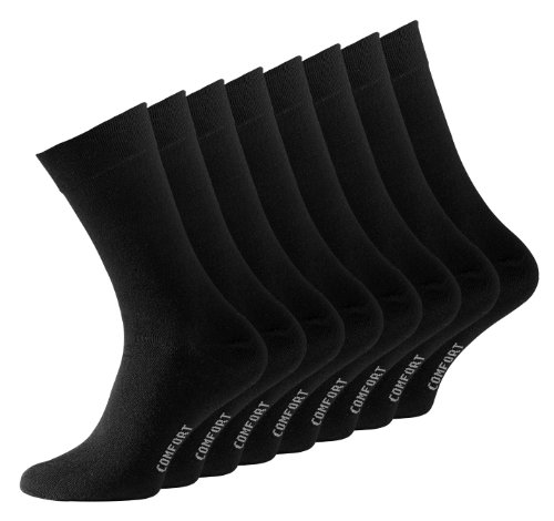 VCA 8 Paar Schwarze Herren Socken, Baumwolle, Herrensocken ohne Gummib&, Gr. 43-46