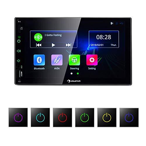 auna MVD-400 CP - Radio para Coche , Pantalla táctil TFT de 7' , 4 x 45 W de Potencia Media , Bluetooth , Micrófono , Manos Libres , USB y Mini SD , Radio FM , 2 DIN , RCA , Salida de línea , Negro