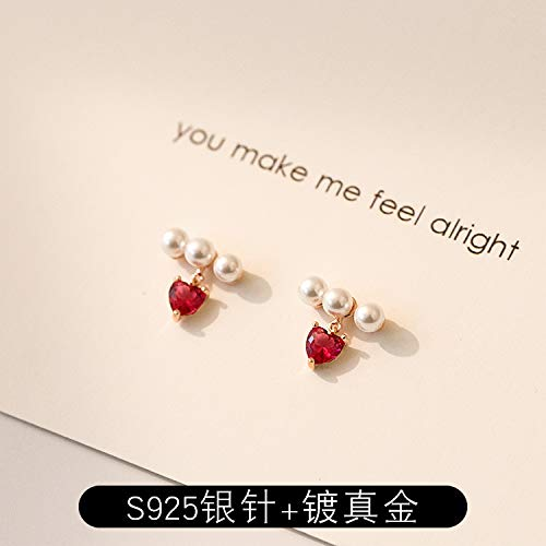 Chwewxi Rosa rotes Herz Bogen Perle Anhänger Ohrringe Temperament Korea super Fee zarte Ohrringe weiblich, rote Perle Schmetterling (Silber Nadel + vergoldet)