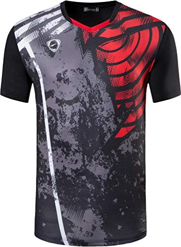 jeansian Herren Sportswear Dry Fit Sport Tee Shirt Tshirt T-Shirt Kurzarm Tennis Golf Bowling Tops LSL249 Black XXL
