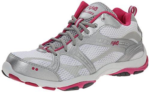 RYKA Women's Enhance 2 V 2 Training Shoe,White/Chrome Silver/Pink Scorch/Steel Grey,5 M US