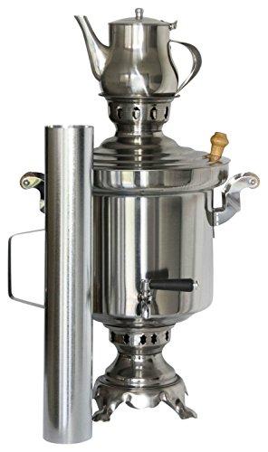 Russisch/Turkse roestvrij staal houtskool Samowar 5 liter met 1 liter theepot