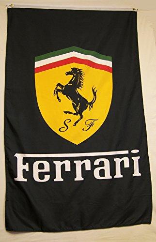 Nuge Ferrari Black Car Flag 5' X 3 Vertical Indoor Outdoor Automotive Banner