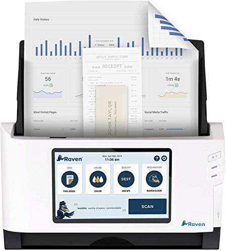 Raven Original Document Scanner - Huge LCD Touchscreen, Color Duplex Feeder (ADF), Wireless Scanning to Cloud, WiFi, Ethernet, USB, Home or Office (1st Gen)