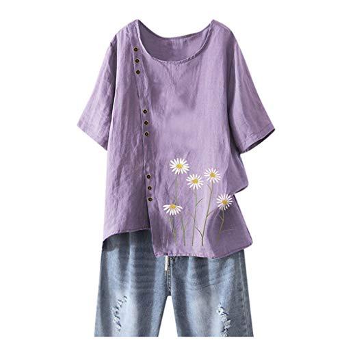 WGNNAA Leinen Bluse Damen Sommer Shirt Lose Tops Übergröße Drucken Tshirts Kurzarm Rundhals Oberteile Große Größen Frauen Casual Atmungsaktiv T-Shirt Unregelmäßiger Saum