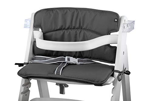 Tinydo® Hochstuhl-Sitzkissen optimal für Roba und ähnliche Treppenhochstühle - 2teilg. Set mit Memory-Schaum-Dämpfung Sitzverkleinerer-Auflage für Babystühle rutschfest pflegeleicht (dunkelgrau)