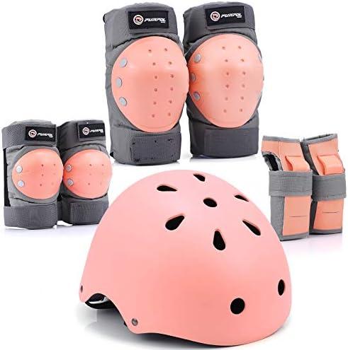 Purpol Kids Bike Helmet Toddler Helmet Adjustable for Kids Youth Knee Pads Elbow Pads Wrist product image