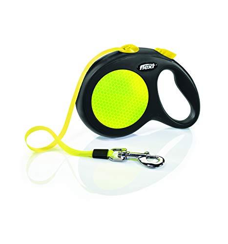 FLEXI cl31t5.250.s Neo einziehbare Hundeleine, groß, Schwarz/Neon
