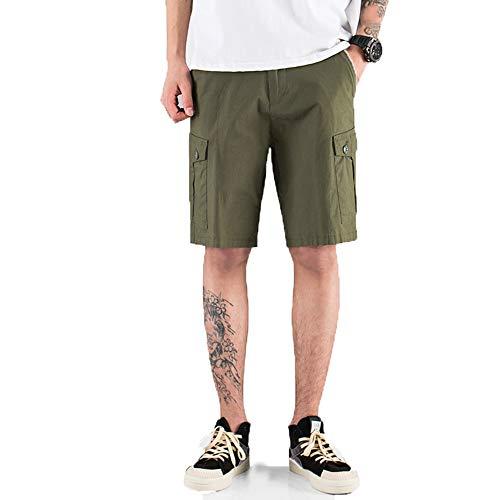 Retro Herren Shorts Herren Sommer Loose Wild Herren Big Pocket Fünf-Punkt-Hose Gerade Dünne Freizeithose