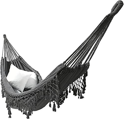 ZZZLL Outdoor Canvas Hammock Brazilian Tassels with Fringe Crochet Cotton Linen Double Extra-Large Outdoor Indoor Garden Swing Chair-Grigio_200 × 150 cm.