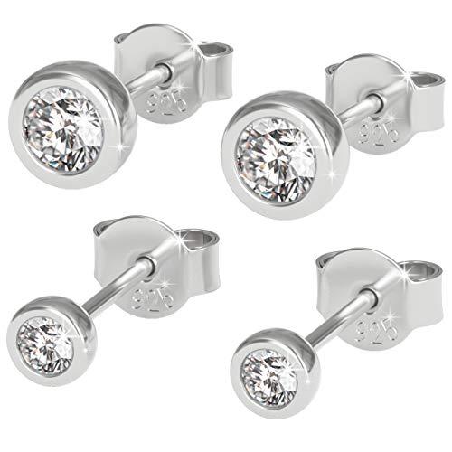Melting River 2er Pack Ohrringe für Damen aus 925 Sterling Silber in Edler Samt Juwelierbox Ohrstecker sind Rhodiniert und mit Sehr Hochwertigen Zirkonia Steinen