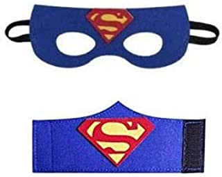 Superhero Masks and Bracelets, Superman Mask and Hand Band Halloween Cosplay Props Costume Accessories for Boys Girls - Superman-1, Blue (Shipping time 3 - 4 days)