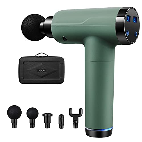 YUNCHI Deep Tissue Percussion Massage Gun, 20 Speed Level 4 Massage Heads, Quiet Operation Relieves Sore Muscles, Handheld Hammer Massager for Athletes, LED Touch Screen with Carrying Case - Green