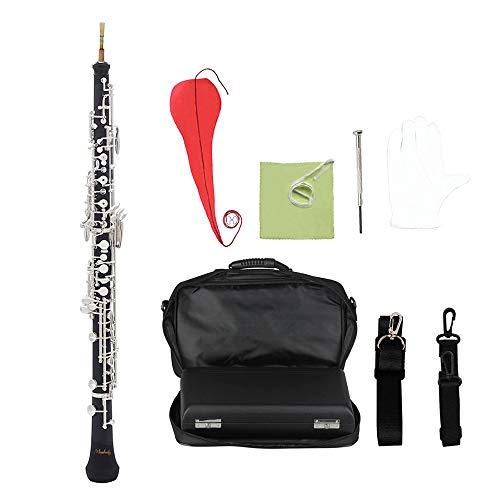 Muslady Oboe C-knop Professionele semi-automatische stijl geplateerde sleutel houten blaasinstrument met Oboe Reed handschoenen leren tas draagtas draagriem poetsdoek mini-schroevendraaier zilver