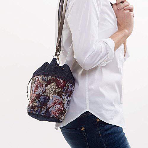 Bolso bandolera tipo saco estampado para mujer, bolso cruzado pequeño, bolso de tela hecho a mano en tapicería y tejido vaquero, bolso de hombro con correa sintética, azul