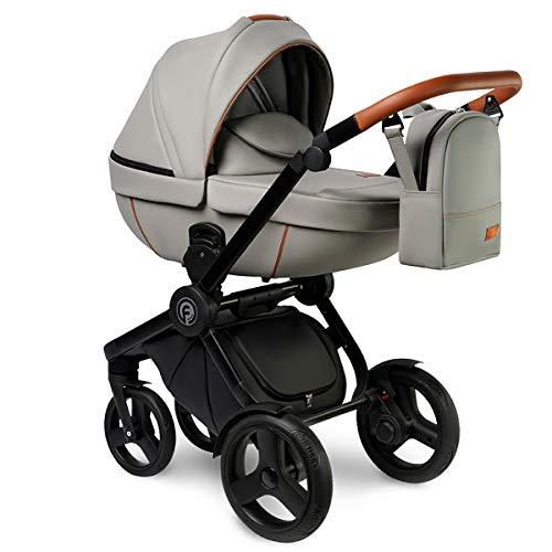 Krausman Kinderwagen 3 in 1 Topaz Lux Gray Kombikinderwagen Babyschale Babywanne Sportwagen
