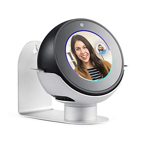 QKa Echo Spot Ständer, 360 Grad drehbarer Aluminium-Wandhalter, Amazon Smart Lautsprecherzubehör (Echo Spot ist Nicht im Lieferumfang enthalten),Silber