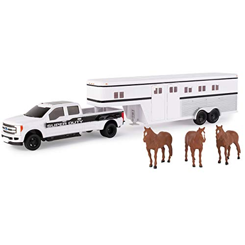 TOMY Ford F-350 Pickup Truck with Horse Trailer and Horses (1:32 Scale), White