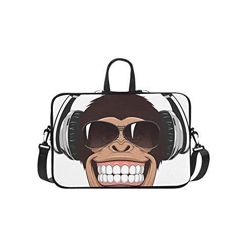 Laptop-Umhängetasche, Messenger-Tasche, Notebookgriff, Neopren, weiches Tragetasche, Reisetasche, Lustiger Affe, Brille, Laptop, Handtaschen 35,6 cm (14 Zoll)