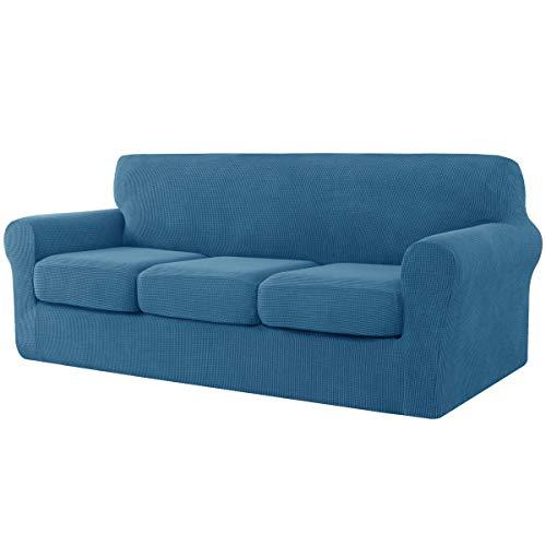 CHUN YI - Funda de sofá, Jacquard, con funda de asiento separada, elastano extensible, Protector de muebles (3 plazas), azul vaquero
