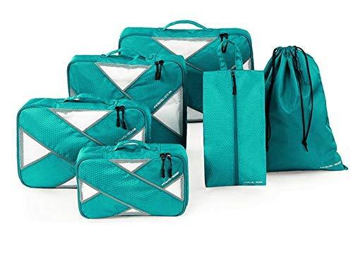 Cubos de Embalaje para Maleta, 6 PCS Organizadores de Embalaje de Viaje Impermeables Esenciales Set Organizador de Equipaje de Viaje de Nylon Ropa Zapatos Cosméticos Artículos de Aseo Bolsas
