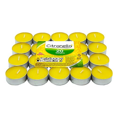 Velas Citronela Perfumada - Vela Perfumada Antimosquitos - Tealight Citronella Candles - 4 Horas Duración Sin Insecticida (Citronela, 20 Velas)