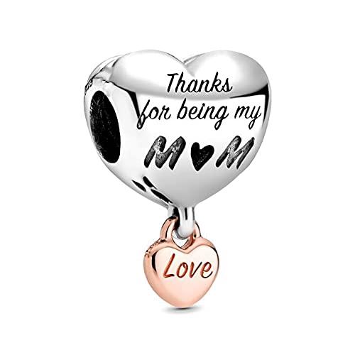 Pandora 925 Sterling Silver Jewelry CharmBead Love You Mum Heart Charm fine beads Fit Original Charms Bracelet Jewelry