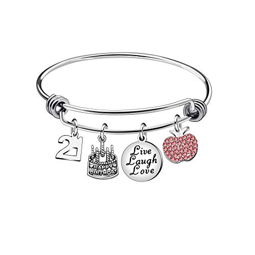13th 18th 21st 30th 40th 50th 60th Birthday Gifts for Women Girls Adjustable Bracelet Bangle Stainless Steel Jewelry (21 Years Old)
