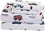 Sheet Set for Boys Police Cars Ambulance Paramedics Fire Fighters Trucks Red Green Grey Light Blue Navy Blue White New # Heroes (Twin)