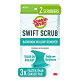 Scotch-Brite Swift Scrub, Bathroom Buildup, Glass Door, Shower and Bath Cleaner, Soap Scum Remover, 3X Faster Than an Eraser Pad, 2, Green, 2 Count