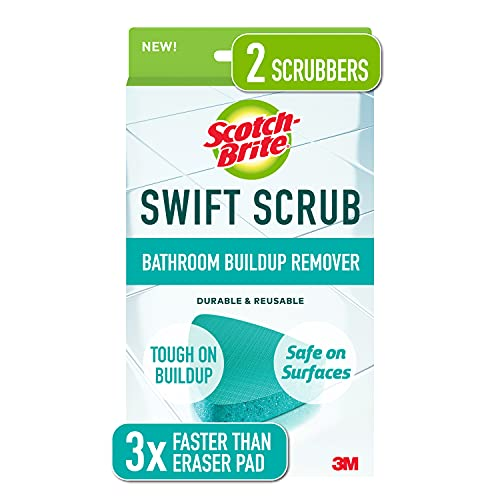 Scotch-Brite Swift Scrub, Bathroom Buildup Remover, Shower and Bath Cleaner, Soap Scum Remover, 3x Faster Than An Eraser Pad, 2 Scrubbers