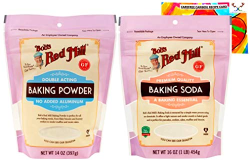 Bobs Red Mill Baking Soda and Baking Powder Bundle With Carefree Caribou Recipe Card. Bundle Includes One (1) 14oz Baking Powder, One (1) 16oz Baking Soda, and One (1) Recipe Card.