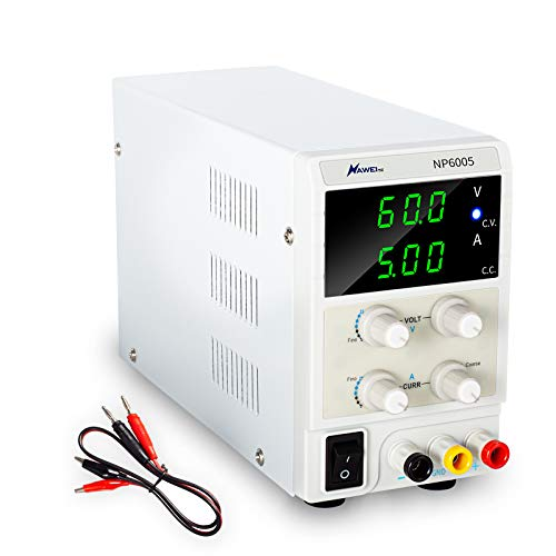 60V 5A DC Bench Power Supply Variable 3-Digital LED Display with CC/CV Mode- Free Alligator Leads for Repair, Lab, DIY Tool, Automobile Battery Charger, Electronic Research