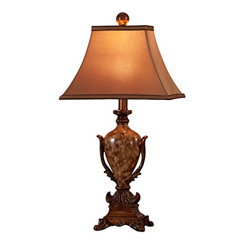 Lámparas de mesa, lámpara de noche, lámpara europea, mesa retro, salón, dormitorio, lámpara de noche, casa, mesa de resina, lámpara de mesa de escritorio LED (tamaño: S)