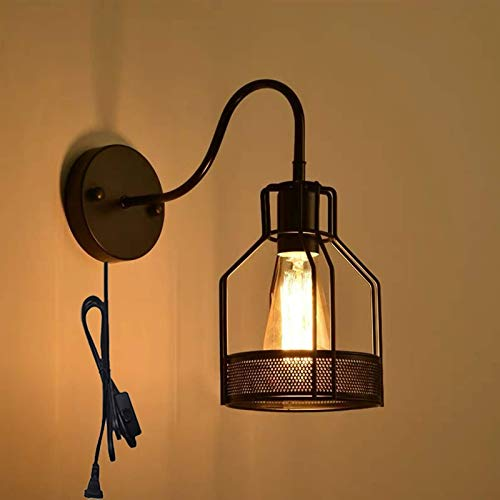 WGFGXQ Retro Living Room Wall Lamp with Switch, Black Industrial Wall Lights Indoor, E27 Vintage Bedroom Wall Sconce Wire Metal Cage, Antique Hallway Wall Lighting with 1.8M Cable