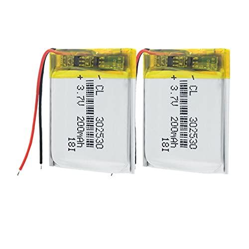 TTCPUYSA 3.7v 302530 200mah Batería De Iones De Litio De PolíMero De Lipo, Pcm Recargable Protegido para Mp3 Mp4 Mp5 GPS 2pieces