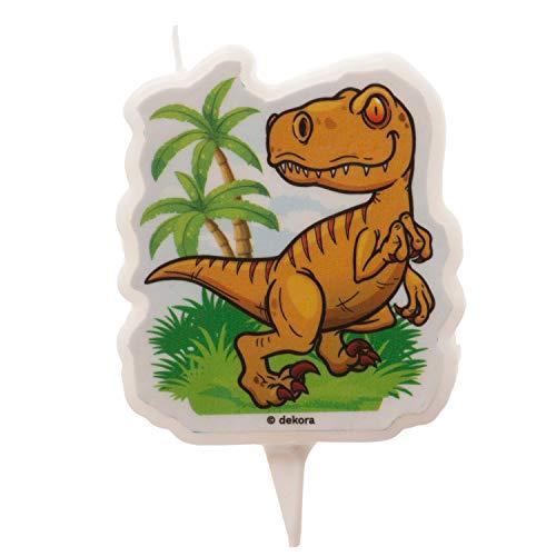 Dekora - Vela de Cumpleaños de Dinosaurios - Un Trex en 2D de 7,5 cm, 345386