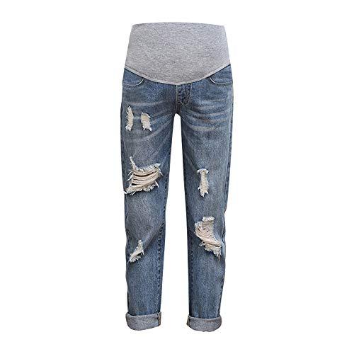 Xiedeai Ropa Premamá Vaqueros para Mujeres - Damas Embarazadas Jeans Alta Cintura sobre Topetón Pantalón Casual Rasgado Denims Pantalones