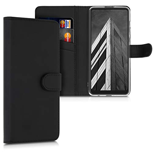 kwmobile Carcasa Compatible con Samsung Galaxy A21s - Funda con Tapa y Tarjetero - Piel sintética Negro